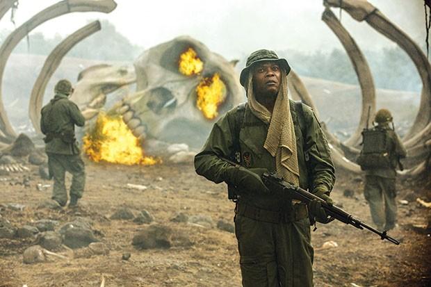 On Skull Island, Packard (Samuel L. Jackson) is still at war.