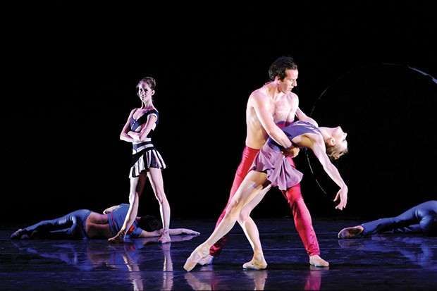 "Pittsburgh Ballet Theatre's Danielle Downey, Cooper Verona and Julia Erickson in ""StrayLifeLushHorn"""