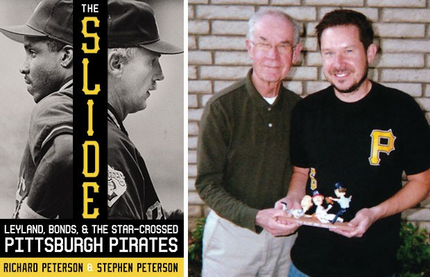 Richard and Stephen Peterson hold a bobble-head version of the famous slide play referenced in The Slide.