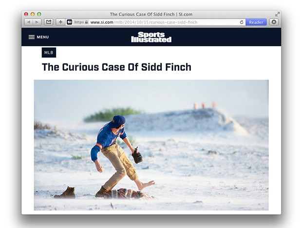 """Sports Illustrated's """"The Curious Case of Sidd Finch"""" - SCREENCAP FROM WWW.SI.COM"""