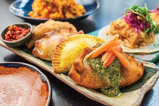 Empanadas: Jamaican beef patty, pollo fricassee, beef picadillo and vegetarian