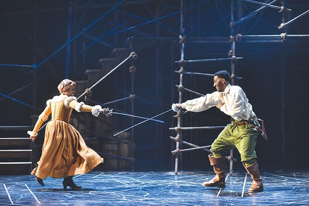 Daryl Paris Bright (left) and Siddiq Saunderson in The The Three Musketeers at CMU Drama