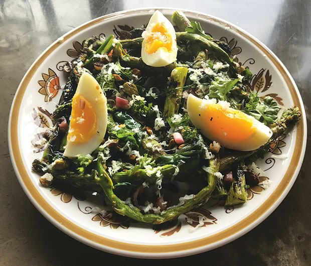 Grilled asparagus with ramps, hard-boiled egg and horseradish - PHOTO COURTESY OF BRANDON BLUMENFELD