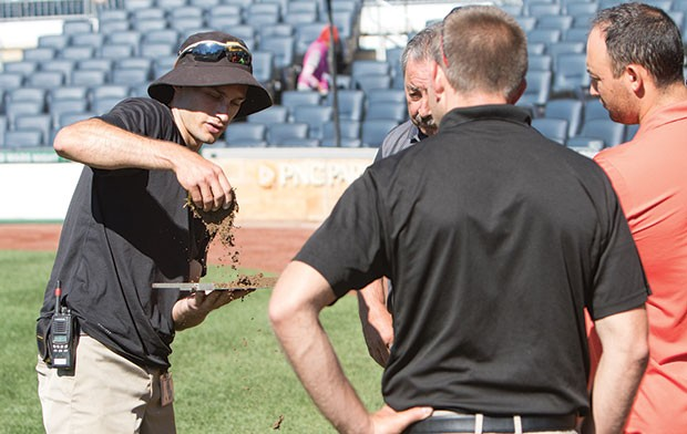 Evan Mascitti, field-operations supervisor for the Pittsburgh Pirates, during the organization's recent field-maintenance clinic for area universities and school districts - CP PHOTO BY LUKE THOR TRAVIS