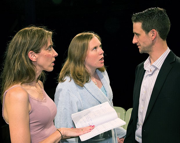 Left to right: Mary Meyer, Jena Oberg and Jared Pfennigwerth in Proof, at Little Lake