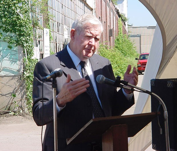 Former U.S. Congressman John Murtha speaking at the former-PPG redevelopment site groundbreaking in 2002 - PHOTO COURTESY OF DAVID CROYLE