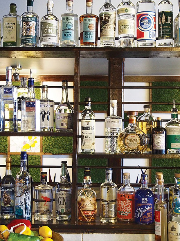 A selection of spirits at Dormont's Needle & Pin
