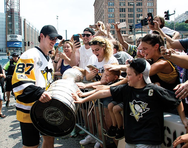 Pittsburgh Penguins captain Sidney Crosby during the 2017 Stanley Cup victory parade - CP PHOTO BY JORDAN MILLER