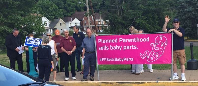 Participants at a June 1 protest at Carnegie Stages organized by local Catholic parishes - PHOTO COURTESY OF CARNEGIE STAGES