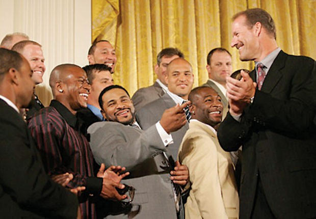 Bill Cowher during a White House visit in 2006 after the Steelers won Super Bowl XL