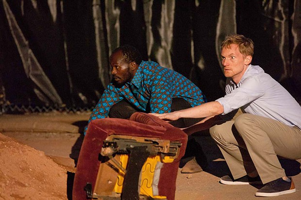 Patrick J. Ssenjovu (left) and Scott Parkinson in Quantum Theatre's Red Hills
