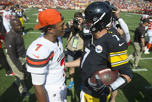 Browns quarterback DeShone Kizer and Steelers quarterback Ben Roethlisberger meet at midfield after the Steelers veteran defeated the Browns rookie in his first NFL start.