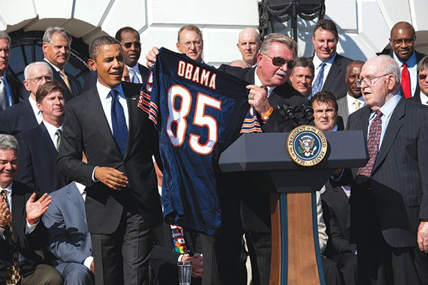 Former Chicago Bears coach and Pitt tight end Mike Ditka visits the White House in 2011. - OFFICIAL WHITE HOUSE PHOTO