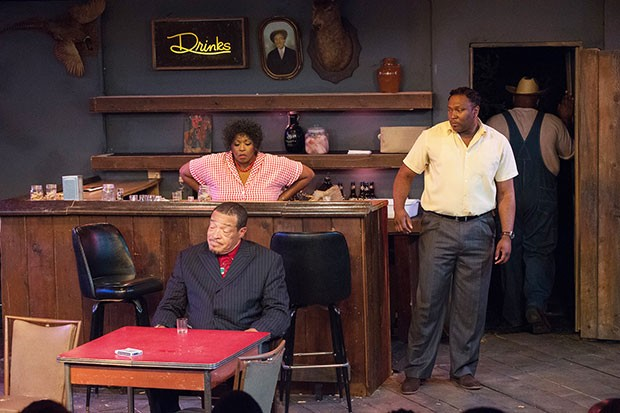 From left: Charles Timbers, Cheryl El-Walker and Monteze Freeland in East Texas Hot Links, at Pittsburgh Playwrights Theatre Co.