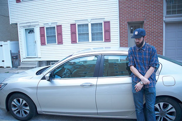 Brian Ferraro with the car that is helping to finance his film - PHOTO COURTESY OF SHANELL SCHIPANI