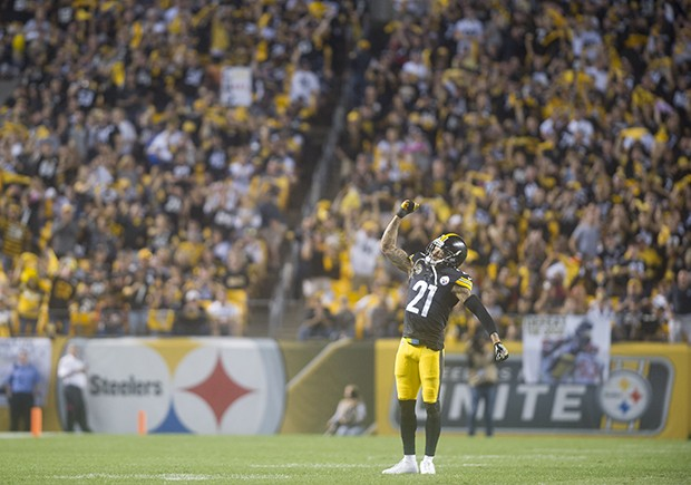 Joe Haden celebrates with the crowd late in the fourth quarter.