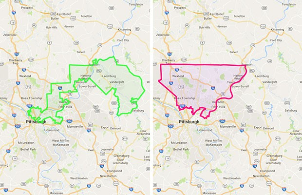 Borders showing how state senatorial District 38 has changed shape from 2001 (on left) to 2012 (on right). The boundary change split up the city's predominantly African-American neighborhoods and eliminated a district that was once held by a Democrat. - SCREENCAPS FROM WWW.REDISTRICTING.STATE.PA.US