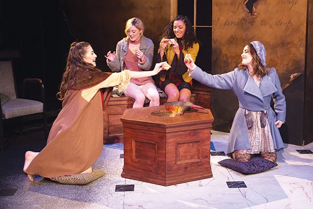 From left: Julia Small, Madeline Watkins, Aenya Ulke and Shannon Donovan in You on the Moors Now, at Point Park Conservatory