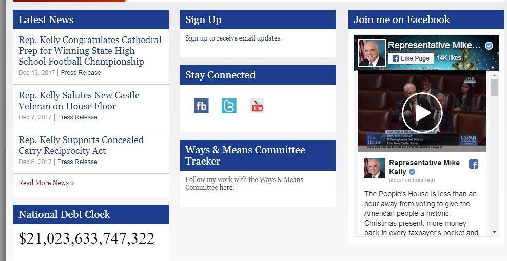 The debt clock (lower left corner) on Mike Kelly's homepage