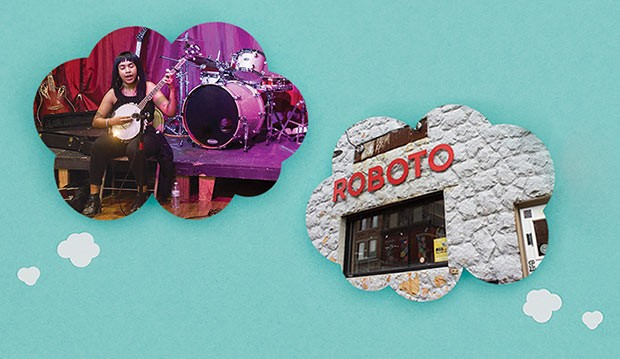 The Childlike Empress plays a benefit show for Planned Parenthood at The Glitter Box Theater in 2017, left; The Mr. Roboto Project, right