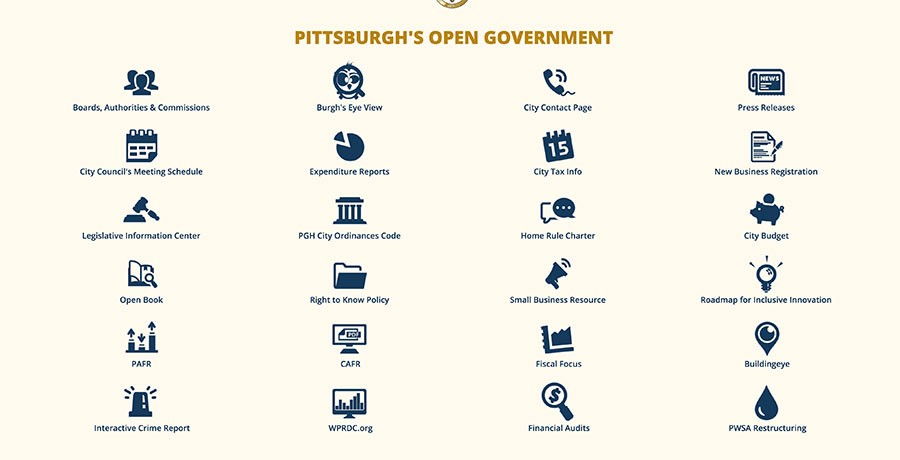 SCREENSHOT OF CITY OF PITTSBURGH WEBSITE CIRCA JANUARY 2018