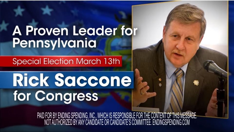 A screen shot of the Ending Spending Inc. TV ad supporting Rick Saccone - IMAGE COURTESY OF YOUTUBE