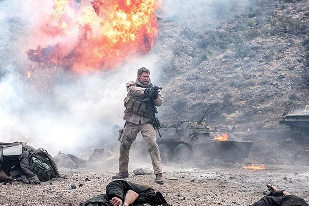 Chris Hemsworth dodges an explosion.