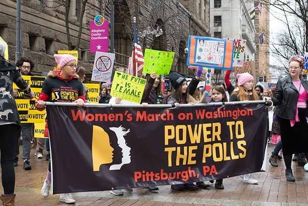 Women's March in Pittsburgh in January - CP PHOTO BY JAKE MYSLIWCZYK