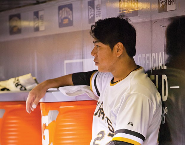 Jung Ho Hang in the Pirates dugout - CP FILE PHOTO