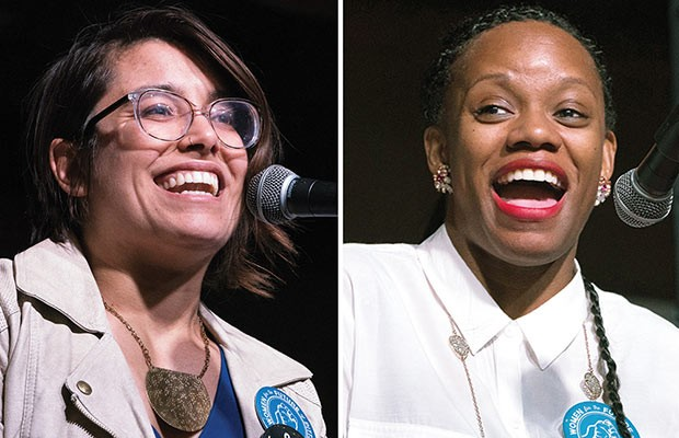Sara Innamorato and Summer Lee during a candidate's forum hosted by City Paper on April 12 - CP PHOTOS BY AARON WARNICK