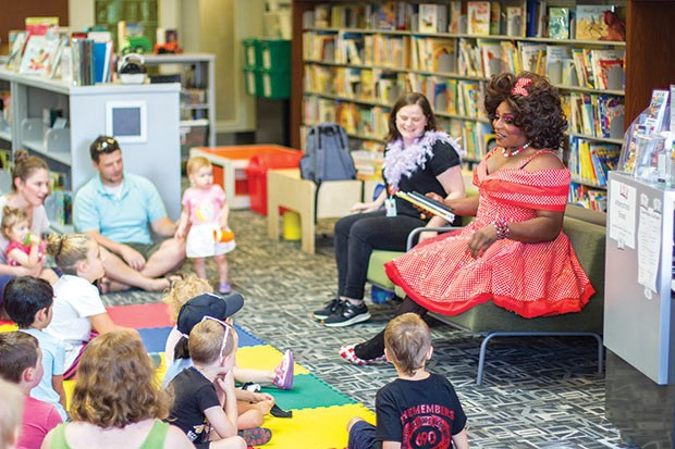 Akasha L Van-Cartier reads to kids at Drag Queen Story Hour - PHOTO COURTESY OF CHANCELOR HUMPHREY/KEEP PITTSBURGH DOPE