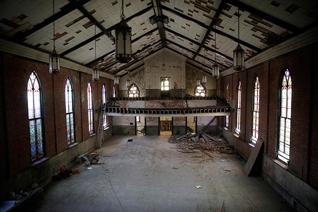 An empty St. Peter's Evangelical and Reformed Church sits on Lockhart Street. Built in 1988, this newly gutted building will soon serve as a 17-unit apartment building.