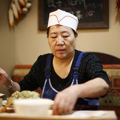 In the kitchen with Guoqing Wu at Northeastern Kitchen