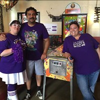 Hosts Amy Covell'Murthy, Mahesh Murthy, and Erin Ward from year 1 of the Flip Off Alzheimer's Pinball Tournament - Uploaded by eward