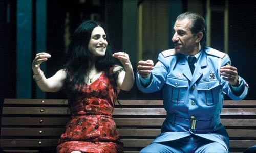 Unlikely companions Dina (Ronit Elkabetz) and Tawfiq (Sasson Gabai) conduct themselves politely.