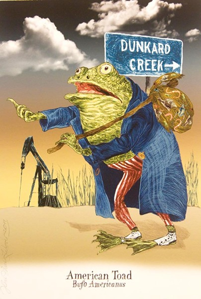 "Up the creek: Ilene Winn-Lederer's ""American toad, Anaxyrus americanus"""