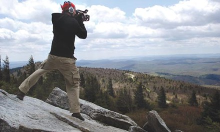 Videographer Tim Weber films from atop West Virginia's Spruce Knob. - PHOTO COURTESY OF DENA GALIE