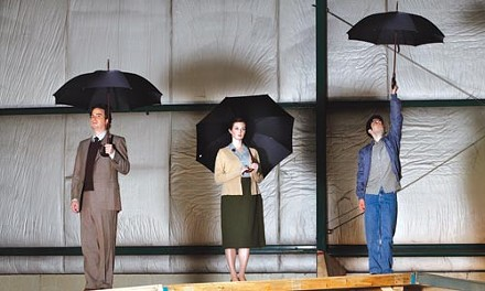 Weather advisory: (from left) Daniel Krell, Daina Michelle Griffith and Nick Lehane in Quantum Theatre's When the Rain Stops Falling - PHOTO COURTESY OF HEATHER MULL