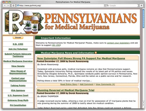 Web sites like Pennsylvanians for Medical Marijuana have cropped up to keep the public informed on the bill's plight.