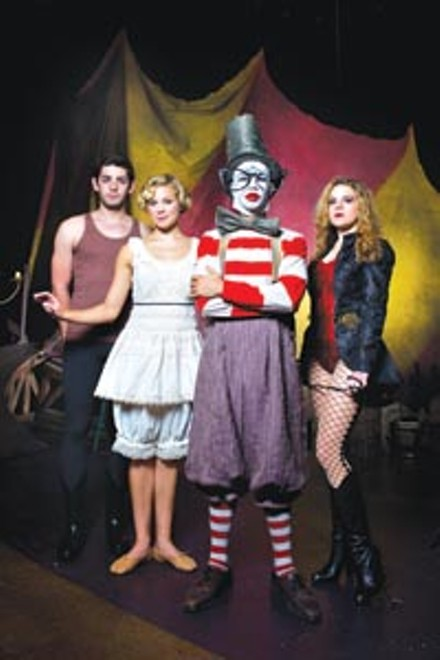 Welcome to the circus: from left, Curtis Gillen, Kaile Torres, Arya Shahi and Catherine Urbanek star in CMU School of Drama's He Who Gets Slapped. - PHOTO COURTESY OF LOUIS STEIN.