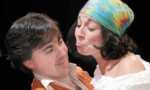 We've got to get oursevles back to Arden: Gregory Caridi (left) and Patricia Samreny  in Little Lake Theatre's As You Like It. Photo courtesy of James Orr.