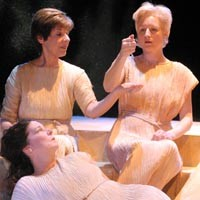 Women who would be king: (clockwise from left) Shirley Tannenbaum, Amy Landis and Bridget Connors in The Rep's <i>The Queens</i>.