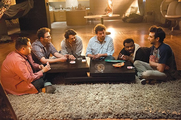 Worst slumber party ever: (from left) Jonah Hill, Seth Rogen, James Franco, Danny McBride, Craig Robinson and Jay Baruchel