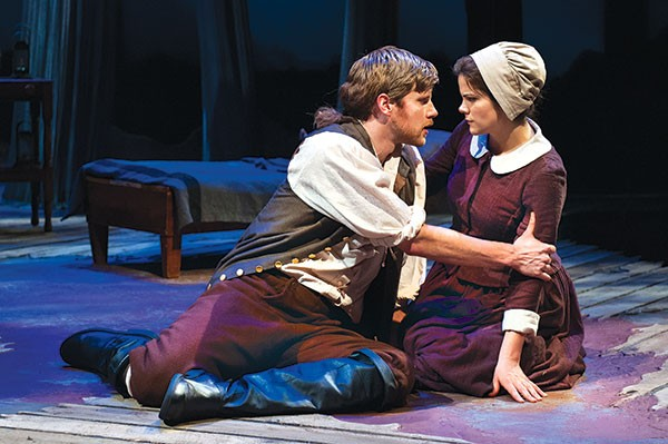Zachary Spicer and Diane Davis in City Theatre's Abigail/1702.