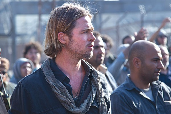 Zombie-hunter Gerry (Brad Pitt) ponders his next move in saving the planet.