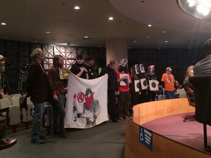 Demonstrators at Wednesdays City Council meeting. This was in the morning, before things devolved in the afternoon session.