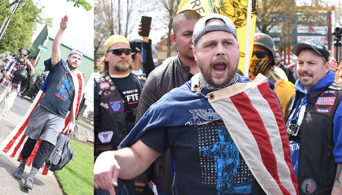 Jeremy Christian, now accused of hate crime murders, at the right-wing March for Free Speech on April 29 (Note: the people in the background are not associated with Jeremy Christian)