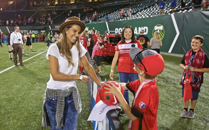 She Lives! Tobin Heath made a brief appearance after the match.