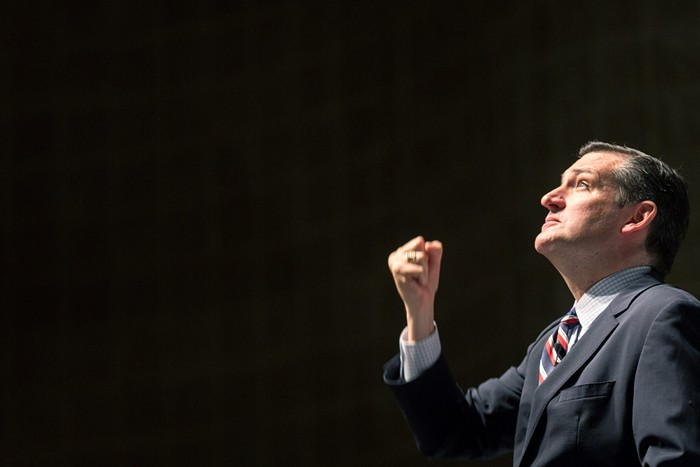 Its pretty easy to find photos of Ted Cruz with a suggestively clenched fist. This one spoke the most to me.