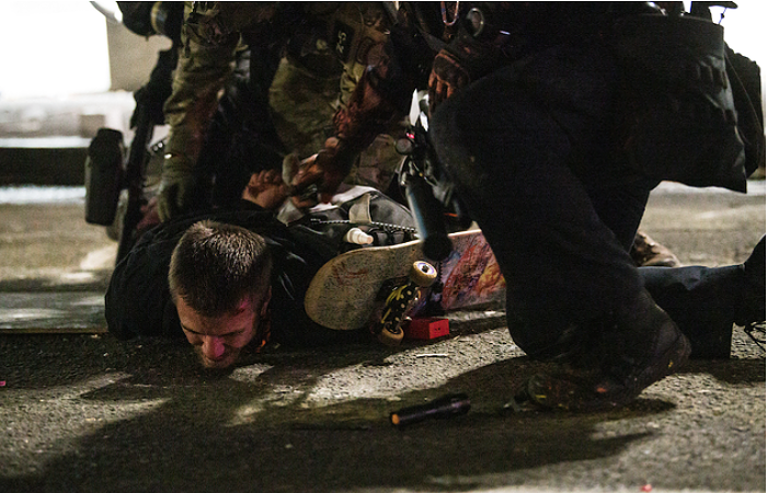 Marek Jarocki was arrested by federal police on July 25, after being caught in a cloud of tear gas.